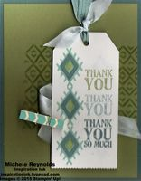 """Handmade thank you card using Stampin' Up! products - Bohemian Borders Photopolymer Set, Lots of Thanks Stamp Set, Angled Tag Topper Punch, 1/2"""" Seam Binding Ribbon, 3/8"""" Stitched Satin Ribbon, and 2014-2016 In Color Clothespins. By Michele Reynolds, Inspiration Ink, http://inspirationink.typepad.com/inspiration-ink/2015/05/bohemian-borders-thank-you-tag.html. #stampinup #inspirationink #bohemianborders #lotsofthanks"""
