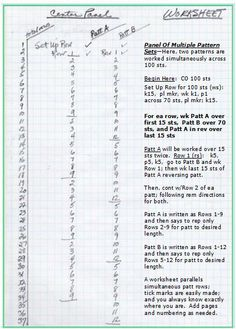 Free Stuff How Tos.Worksheet for multiple patterns.  How to keep track of multiple patterns -- crocheting or knitting