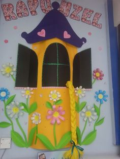 Part of fairytale library display - Rapunzel's castle. I loved making this display!