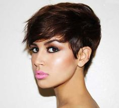 Thick hairs with a trendy messy short haircut look stylish, amazing ...