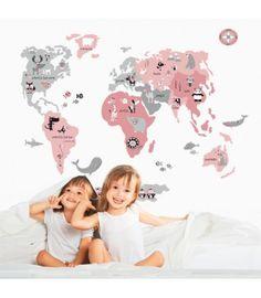 Vinilo infantil de tela Mapamundi Animal rosa y gris