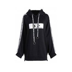 3477d9b298b Black 3xl Plus Size Letter Detail Boyfriend Hoodie ( 32) ❤ liked on Polyvore  featuring