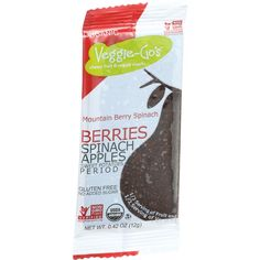 Veggie Gos Organic Snack - Mountain Berry Spinach - .42 oz Bars - Case of 20 - Mountain Berry Spinach Veggie-Gos are a lunch-box favorite for kids and grown-ups alike!  You will love the sweet strawberries fresh blueberries and tangy raspberries! Your body will love the green goodness of spinach the massive amounts of Vitamin A from the sweet potatoes as well as the antioxidant power of the berries!  There is nothing that is not fantastic for you in these little guys! Organic 1/2 Serving of…