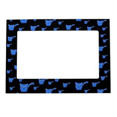 Shop Black & Blue Kitty Pattern Magnetic Frame created by thepawkinglot. Magnetic Picture Frames, Creature Comforts, Cherished Memories, Succulents Diy, Business Supplies, Pet Shop, Mom And Dad, Printing Process, Colorful Backgrounds