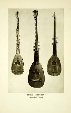 """Three Chitaroni - Seventeenth Century"" This is an original 1917 black and white halftone print of artwork that depicted a trio of European stringed instruments, including a Theorbo and two Chitaroni."