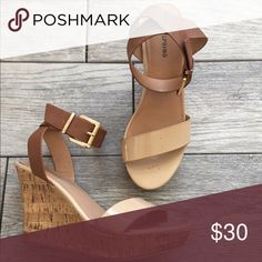 Call it Spring Wedge Sandals A high heel wedge updates this gorgeous ankle strap sandal in a 2 tone brown/nude color. Ankle strap with buckle. Call It Spring Shoes Wedges