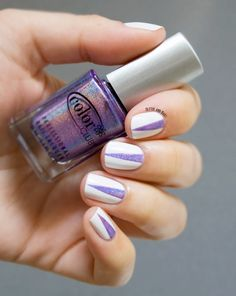 Glitter and Nails: Arc-en-ciel, triangles & blanc.