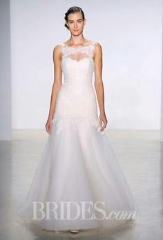 """Christos - Fall 2014 """"Carissa"""" sleeveless corded lace and tulle mermaid wedding dress with an illusion bateau neckline and sweetheart bodice, Christos"""