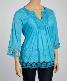 Look at this Blue Embroidered Notch Neck Top - Plus on #zulily today!