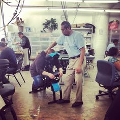 Weekly massages for all our factory employees! #AAemployees #AmericanApparel #massage