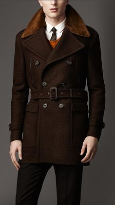 Mink Collar Wool Coat | Burberry