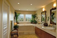 Love the plants in the corner of the bath.