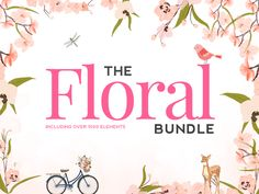 This month for the start of Spring, The Hungry JPEG is featuring The Floral Super Bundle.   This massive bundle includes over 1900 illustrations and graphics, as well as 17 beautiful fonts!