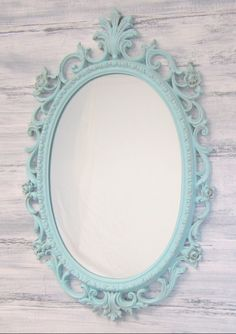 "Teal Blue painted vintage mirror. Beautiful Embossed Vintage French Country Shabby Chic Mirror! Hand painted my Signature ""Distressed Robin's Egg"" for the patina finish we all love! ~ $169 by RevivedVintage on Etsy https://www.etsy.com/listing/154361358/shabby-chic-nursery-teal-blue-decor-baby"