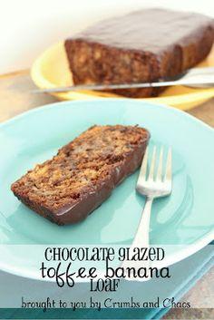 Chocolate Glazed Toffee Banana Loaf
