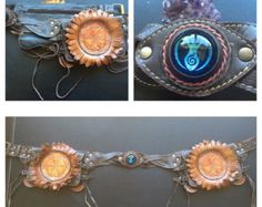 Custom dichroic glass leather utility belts от NayturesEmpire