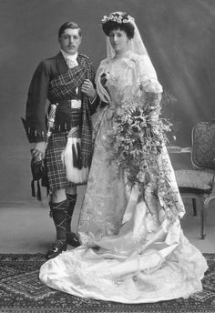 +~+~ Antique Photograph ~+~+  Stunning Wedding Portrait.  Scotland.