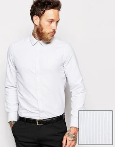 ASOS Smart Shirt In Long Sleeve With Oxford Stripe #Camisarias #Listrados #FocusTextil