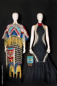 Class VII: Diverse Arts winner, Jamie Okuma & Sandra Okuma (Mother and Daughter) (Shoshone Bannock/Luiseno), 'The Haute Couture of the Indigenous Kind: Yesterday and Today;' two mannequins together as an installation – concept is Native fashion and its evolution and adaptation to contemporary times; textiles, beading, jewelry, handbags, ornamentation in multiple mediums and materials. Photo: Daniel Nadelbach. Source: facebook.com/SWAIA