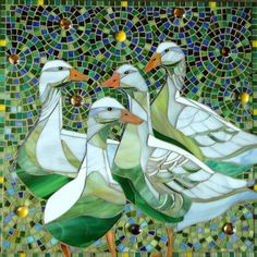 Geese Print Limited Edition Giclee Print from an door LAMosaicGifts