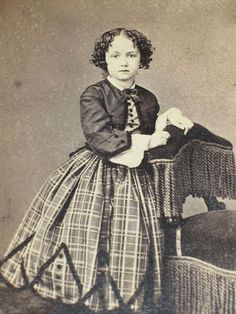 CDV Civil War era Cute Curly Haired Young Girl Fancy Dress Outfit:
