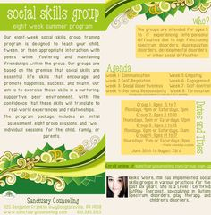 Social Skills Groups for ages 5 to 17. Check out the flyer for more info - http://sanctuarycounseling.com/group-counseling/