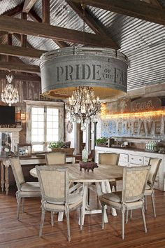 Not so much the chandelier, but would love a different light fixture in there Diy Home Decor Rustic, Rustic Farmhouse Decor, Texas Farmhouse, Farmhouse Style, Antique Farmhouse, Farmhouse Ideas, Farmhouse Design, Rustic Cafe, Rustic Design