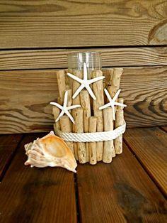 Driftwood Náutico Candle Holder W / cuerda y estrellas de mar