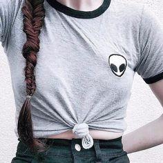 Sommer Lässige Crop Tops Alien Druck T-Shirts Frauen Lose Drucken Kurzarm T-stücke S-XL
