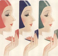 Art deco illustration , 1930, Tre-Jur Compacts,  Make-up Ad.