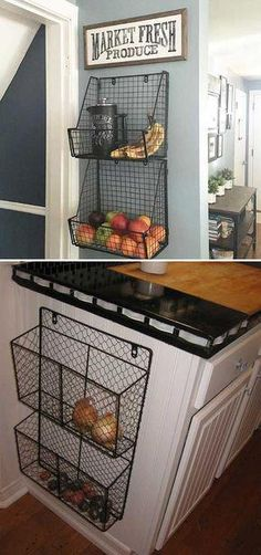 15 Insanely Cool Ideas for Storing Fresh Produce Attach wire baskets to the side of kitchen wall or cabinet. 15 Insanely Cool Ideas for Storing Fresh Produce Attach wire baskets to the side of kitchen wall or cabinet. Kitchen And Bath, Kitchen Dining, Kitchen Small, Kitchen Pantry, Kitchen Baskets, Organized Kitchen, Kitchen Hacks, Wall Pantry, Country Kitchen