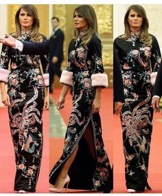 AMERICA IS BACK! First Lady Melania Trump STUNNED onlookers and fans in China. Melania Trump in Beijing simply amazing in this GUCCI Chinese-inspired dress with puff fur sleeves. All eyes are on beautiful Melania Trump. Batik Fashion, Hijab Fashion, Best Tea Brands, First Lady Melania Trump, Comfortable Outfits, Sexy Dresses, Lovely Dresses, Beautiful Clothes, Celebrity Style