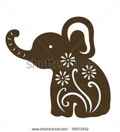 Decorative Baby Elephant Sitting Stock Vector 58571842 : Shutterstock
