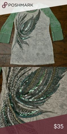 Large Miss Me 3/4 Sleeve Tee BNWOT. Never worn. Beautiful Miss Me top with wing sequin detail on front. Sheer top would look really cute with a green cami underneath to show off designs. Miss Me Tops Tees - Long Sleeve