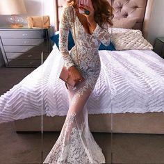 White Patchwork Lace V-neck Long Sleeve Mermaid Maxi Dress Up To Off White Midi Dress, White Maxi Dresses, White Tulle, Tulle Prom Dress, Prom Dresses, Wedding Dresses, Dress Lace, See Through Dress, White Long Sleeve