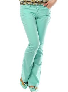 Bol Paça Renkli Bayan Pantolon Yeşil