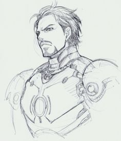 feistydreamsfangasms:  Tony Stark/Iron Man as drawn by Hiroshi Ueda (manga artist known for his work on Full Metal Panic! Sigma and Tiger&Bunny)