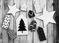 Kerstcollectie #hout #huisjes #zwartwit #kerstboom
