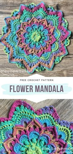 Flower Mandala Free Crochet Pattern - Beautiful Decorative Mandalas For Your Home. If you're looking for a new spring project, this ama - Motif Mandala Crochet, Crochet Doilies, Crochet Flowers, Crochet Stitches, Mandala Blanket, Crochet Leaves, Crochet Potholders, Beau Crochet, Knit Crochet