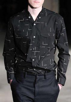 N Hoolywood F/W 2014 Menswear Club Shirts, Boys T Shirts, Casual Shirts, Casual Outfits, Men Casual, Mens Printed Shirts, Dark Blue Shirt, Denim Shirt, Clothing Patterns