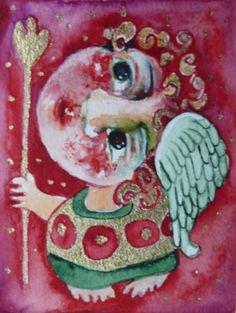 ACEO folk art painting original  naive primitive watercolor & acrylic painting  #NaivePrimitive