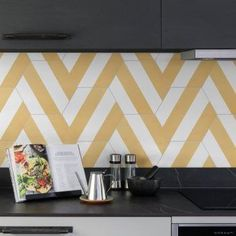 Neapolitan Porcelain Wall & Floor Tiles#floor #neapolitan #porcelain #tiles #wall Yellow Tile, Pink Tiles, Patterned Kitchen Tiles, Kitchen Splashback Tiles, Contemporary Tile, Hallway Flooring, Herringbone Tile, Home Room Design, Wall And Floor Tiles