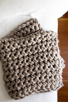 Gorgeous Hand Crochet Blanket in an Hour – Flax & Twine - how to crochet chunky blanket Chunky Crochet, Chunky Yarn, Crochet Yarn, Hand Crochet, Free Crochet, Freeform Crochet, Irish Crochet, Crochet Stitches For Blankets, Crochet For Beginners Blanket