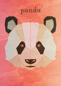 PANDA, Geometric illustration, Animal head www.alicemacleansmith.com  Copyright 2014 Alice Maclean Smith