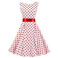 Women's+White+Red+Polka+Dot+Dress+,+Vintage+Sleeveless+50s+Rockabilly+Swing+Short+Cocktail+Dress+–+AUD+$+50.49