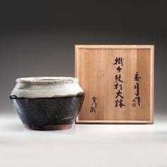 Shoji Hamada (1894-1978; Japan) Handsome Shouldered Vase with Ladle-poured Glaze, ca 1955. Salt-glazed Stoneware; ht. 12.5, dia. 18.5 in. Includes artist signed box.