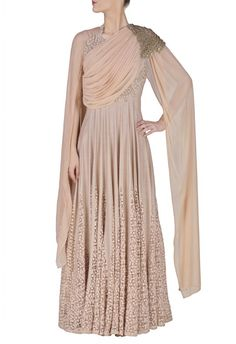 Blush pink embroidered anarkali with attached dupatta