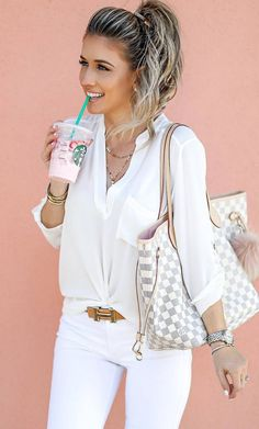 white outfit inspiration_blouse   skinnies   bag
