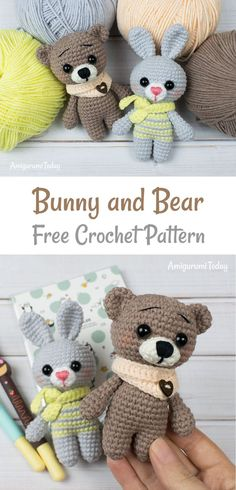 Tiny Bunny and Bear crochet pattern by Amigurumi Today These free crochet animal patterns can help you to create any animal you want by changing muzzle and ears. The head, body and legs of the amigurumi toys ar Teddy Bear Patterns Free, Crochet Animal Amigurumi, Crochet Bunny Pattern, Crochet Amigurumi Free Patterns, Crochet Animal Patterns, Stuffed Animal Patterns, Cute Crochet, Crochet Animals, Crochet Toys