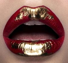 "miss-mandy-m: "" Makeup Madness : Gilded red & gold from makeup artist Mike Ruiz "" Gold Makeup, Makeup Art, Lip Makeup, Lipstick Art, Lip Art, Makeup Inspo, Makeup Inspiration, Red Aesthetic Grunge, Aesthetic Dark"